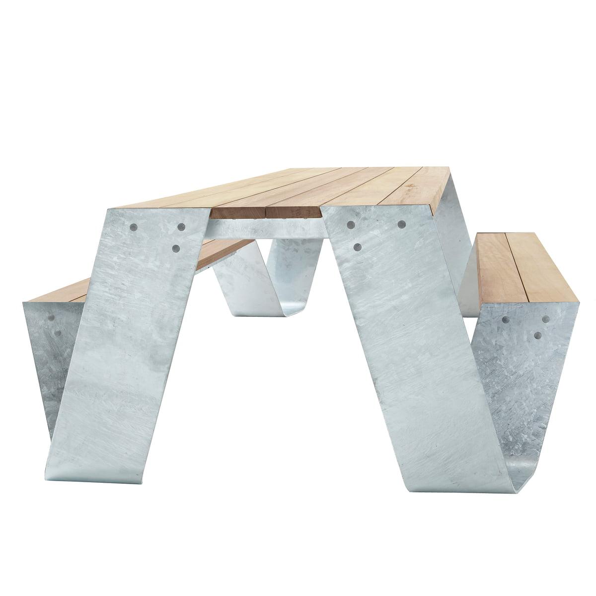 Hopper tisch und bank von extremis im shop for Design tisch stahl