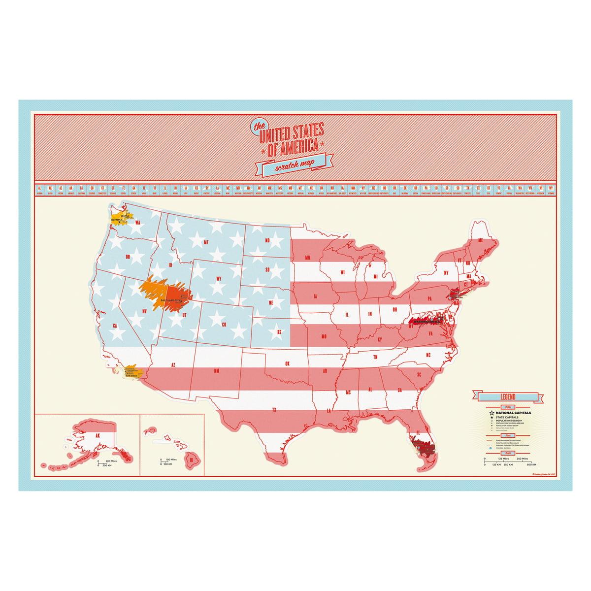 Scratch Map USA von Luckies im Design-Shop