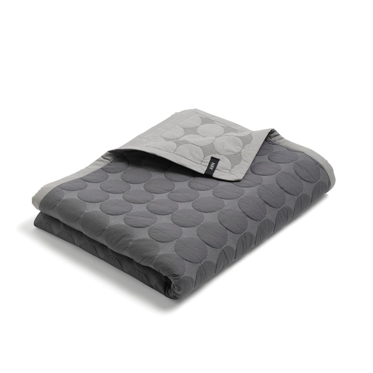 Hay   Mega Dot Quilt, Dark Grey