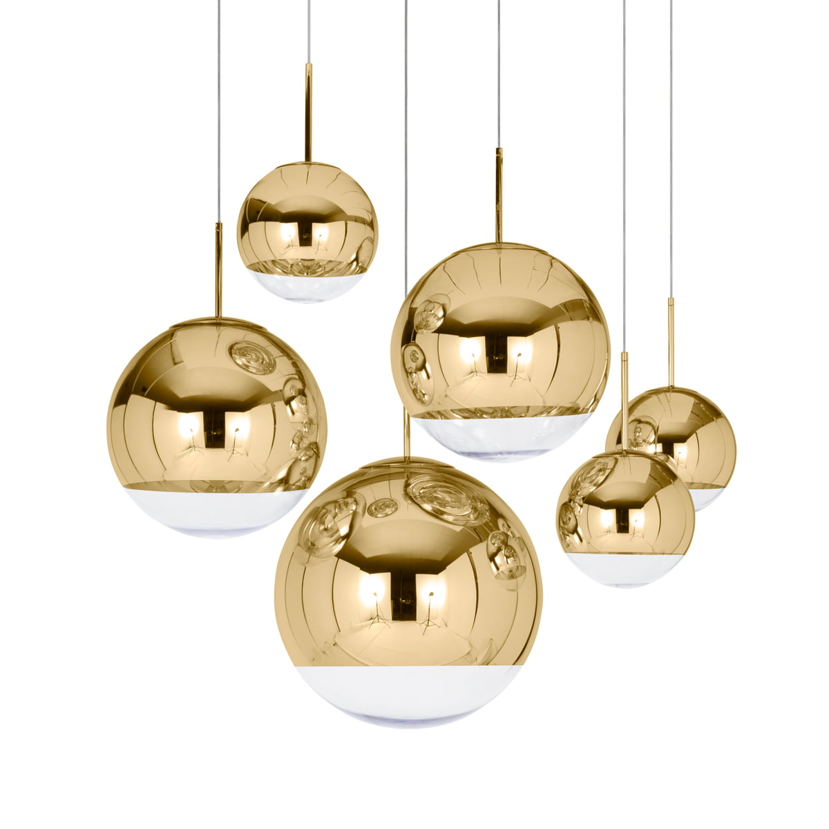 mirror ball gold pendelleuchte von tom dixon. Black Bedroom Furniture Sets. Home Design Ideas