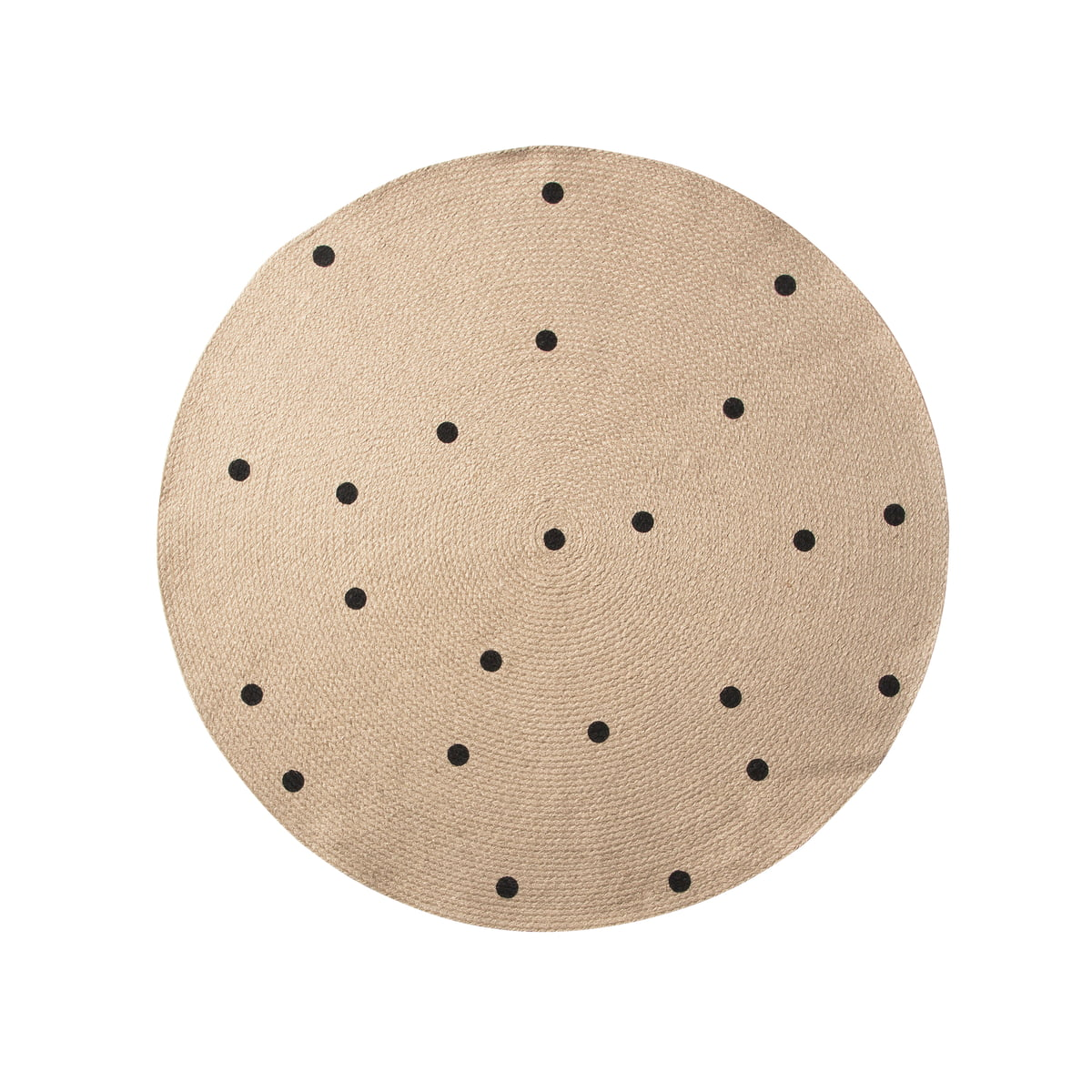 black dots jute carpet von ferm living kaufen. Black Bedroom Furniture Sets. Home Design Ideas