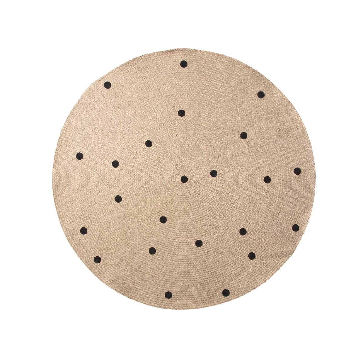 black dots jute carpet von ferm living kaufen. Black Bedroom Furniture Sets. Home Design Ideas