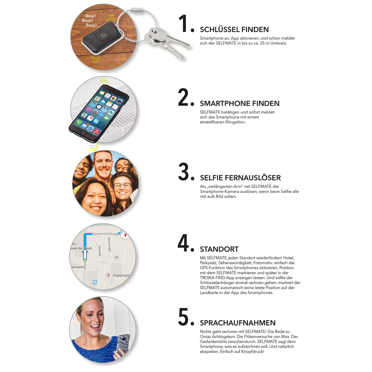 selfmate schl ssel und smartphonefinder von troika. Black Bedroom Furniture Sets. Home Design Ideas
