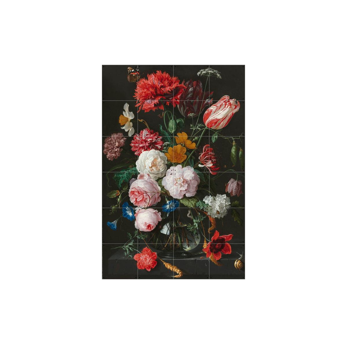 Blumenstillleben In Einer Glasvase (De Heem) Von IXXI In 80 X 120 Cm