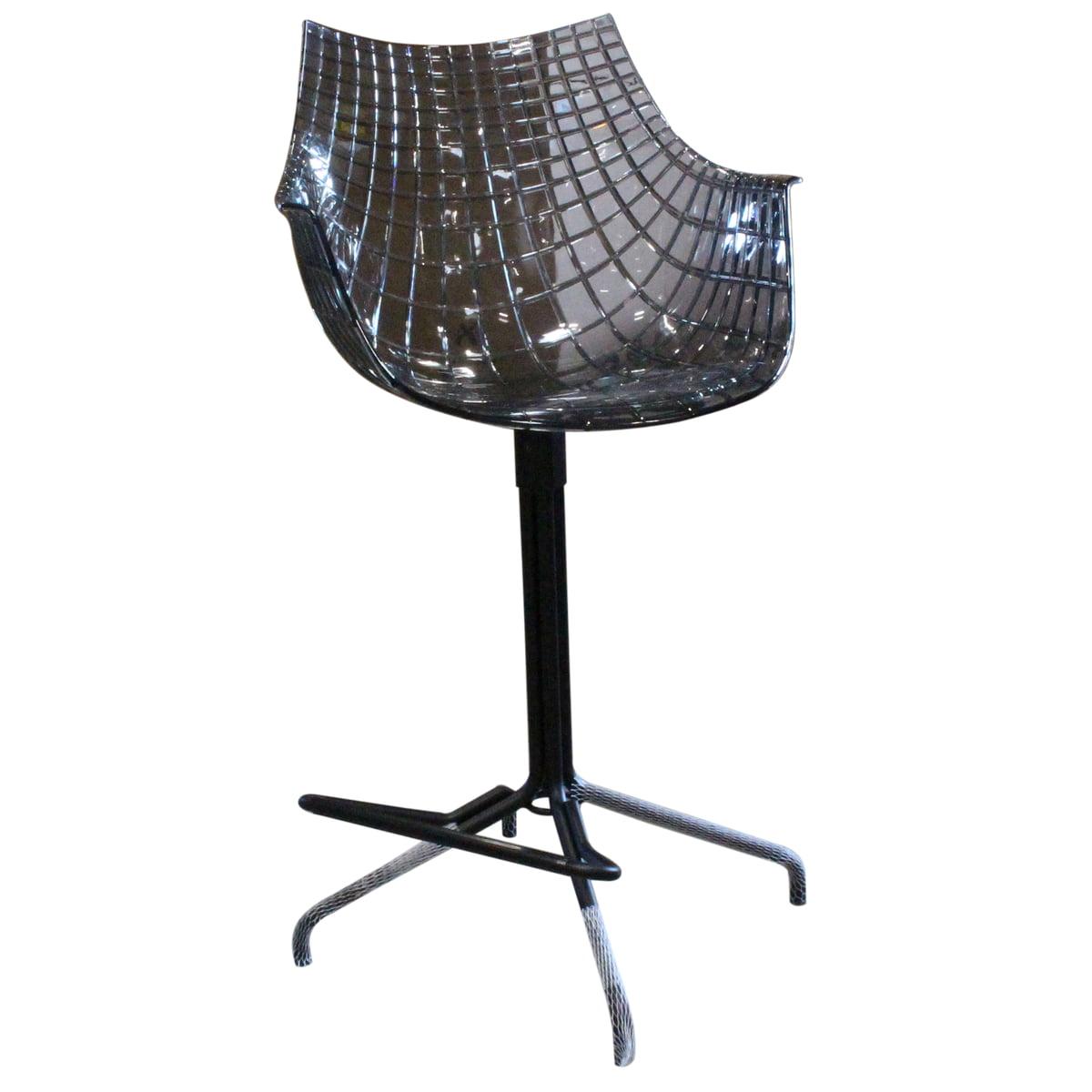 Design Sale - Driade - Meridiana Drehhocker, Sitzhöhe 67 cm, Stahl matt lackiert, schwarz / Sitzfläche transparent, fumé