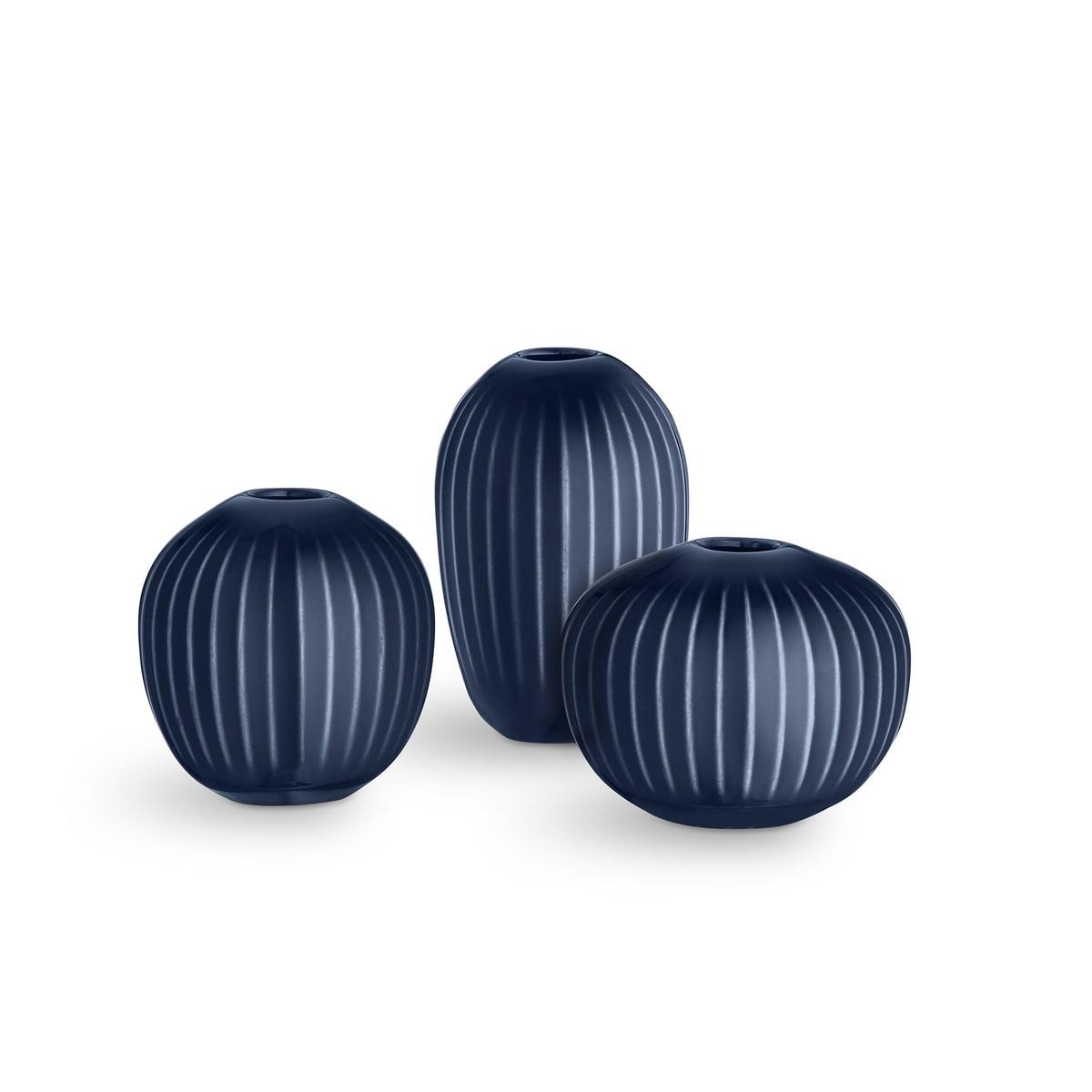 Christbaumkugeln Mini.Kahler Design Hammershoi Vase Miniatur Indigo 3er Set