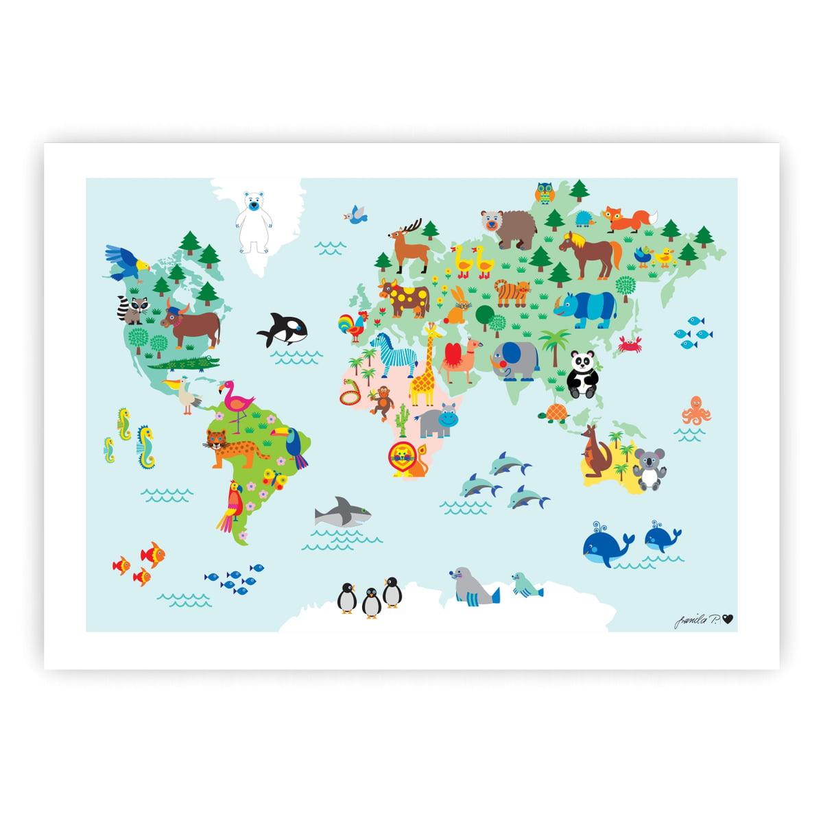 Tier-Weltkarte Poster von byGraziela | Connox