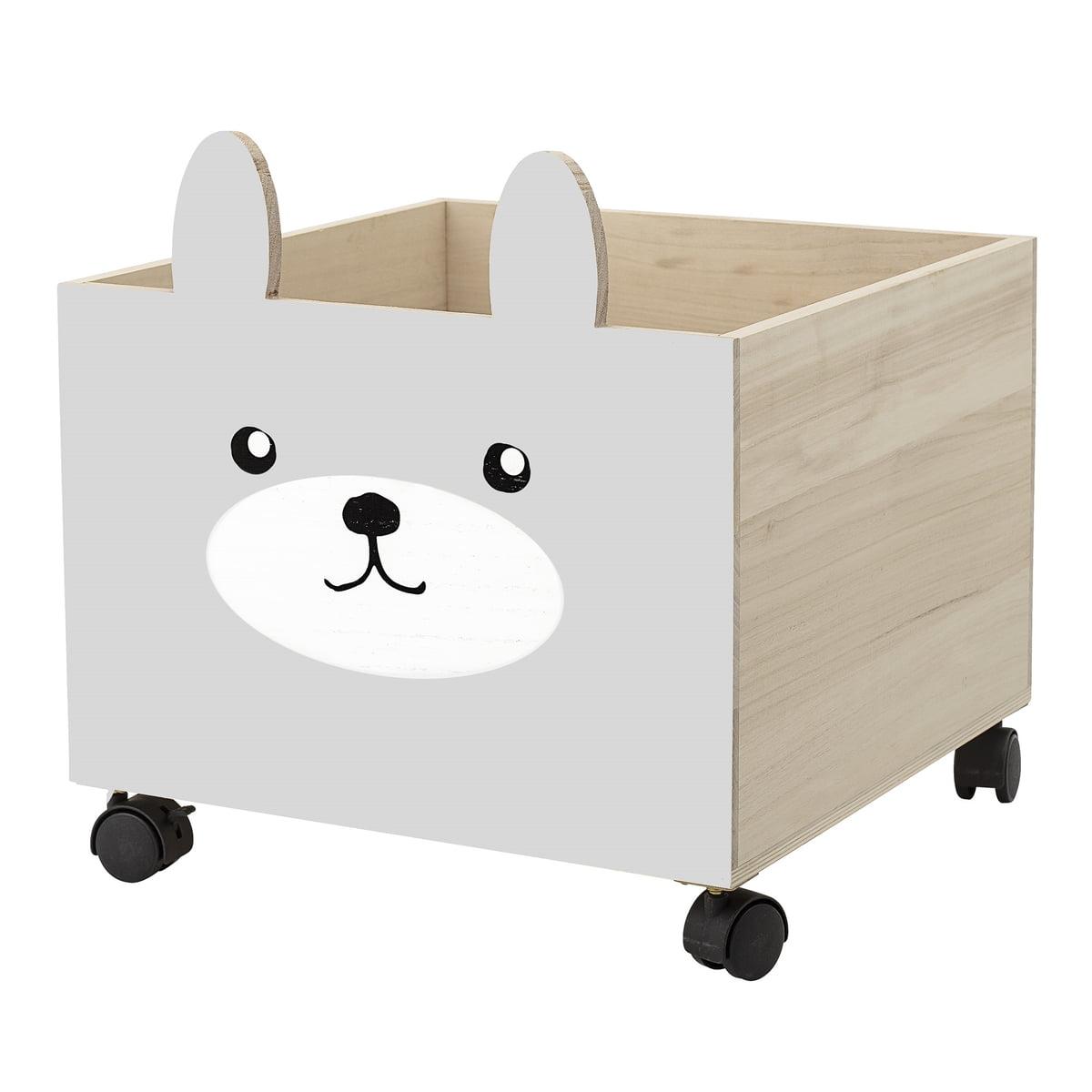 Bloomingville - Spielzeug-Kiste mit Rollen, grau / weiß