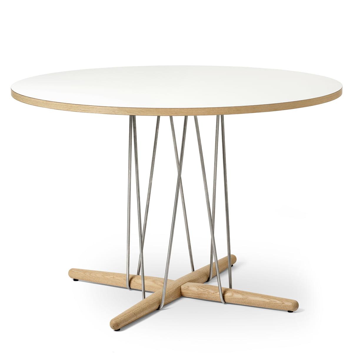 Tisch 110 Cm.Carl Hansen E020 Embrace Tisch ø 110 Cm Eiche Weiß Geölt Laminat Weiß Stahl Verchromt