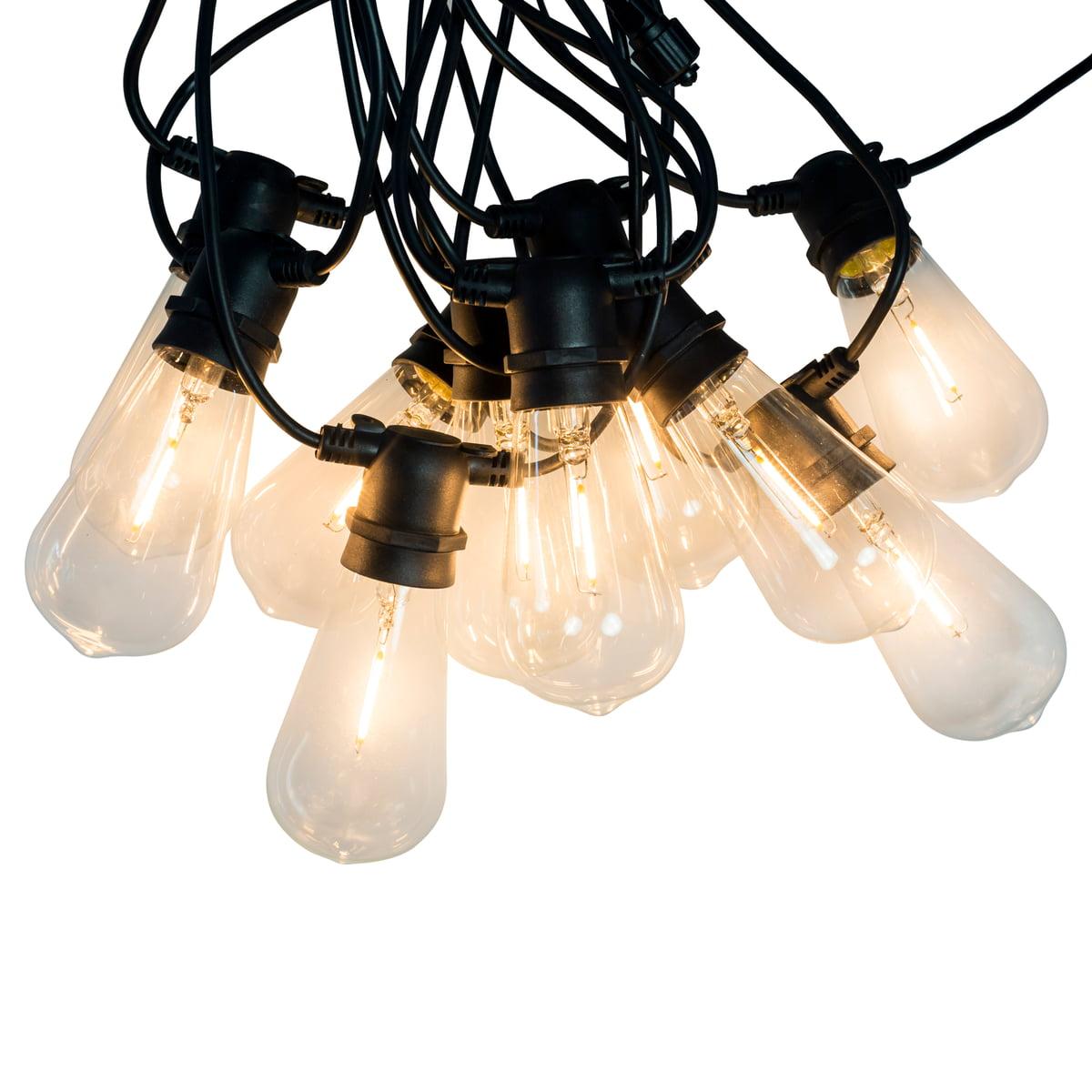 Connox Collection LED Lichterkette IndoorOutdoor (IP 44), 10 Lampen oval, Kabel schwarz