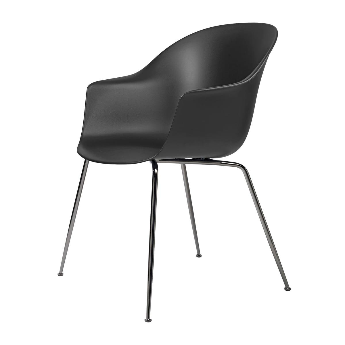 Gubi Bat Dining Stuhl, Base schwarz verchromt schwarz