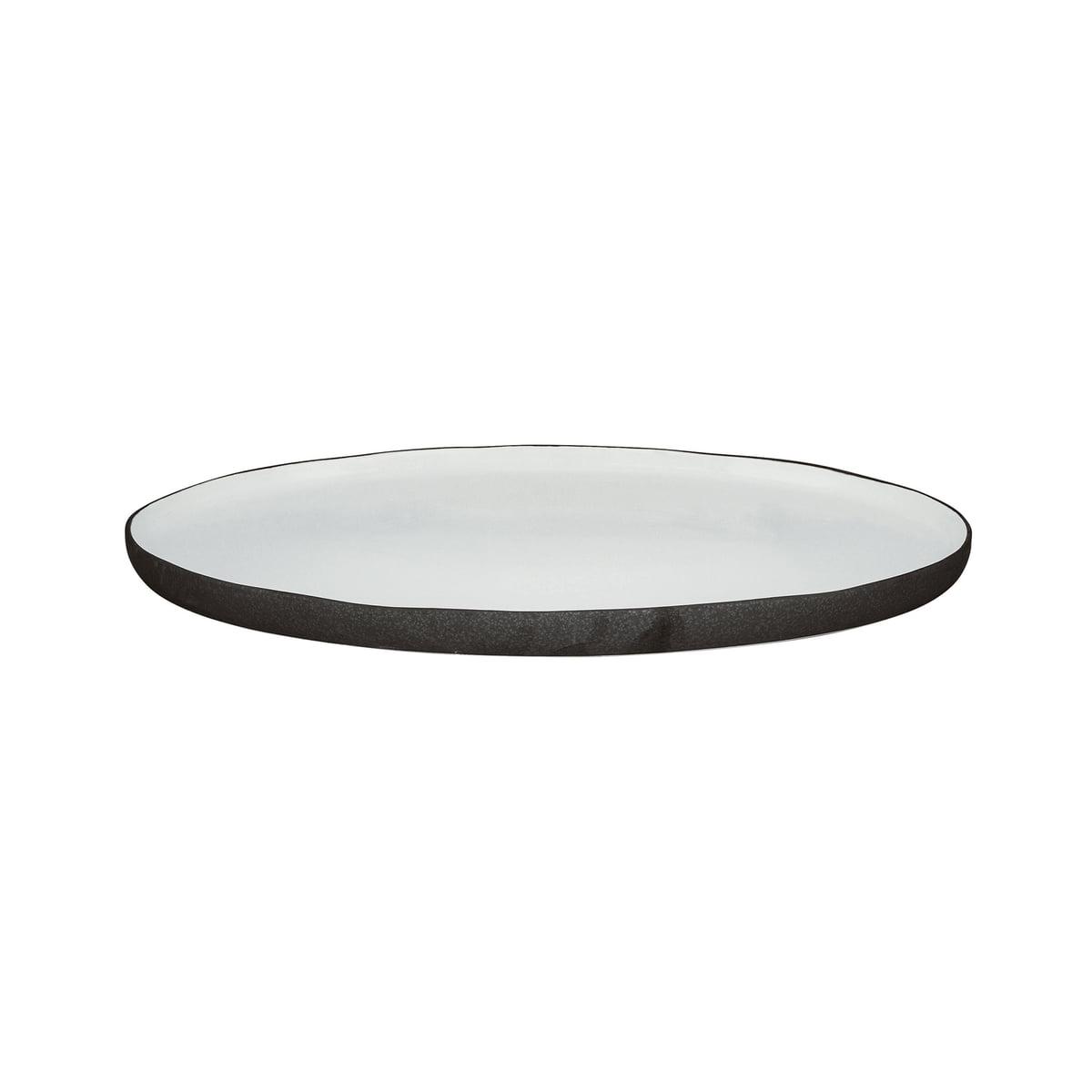 Broste Copenhagen   Esrum Servierplatte oval S, 20 x 20,20 cm, elfenbein  glänzend / grau matt