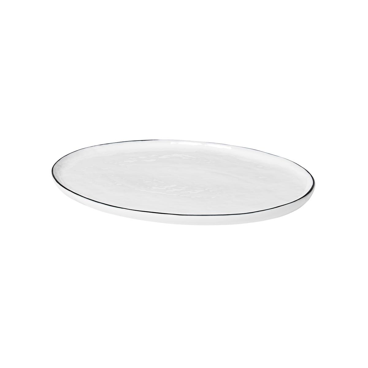 Broste Copenhagen   Salt Servierplatte oval, 20 x 20 cm, weiß / schwarz