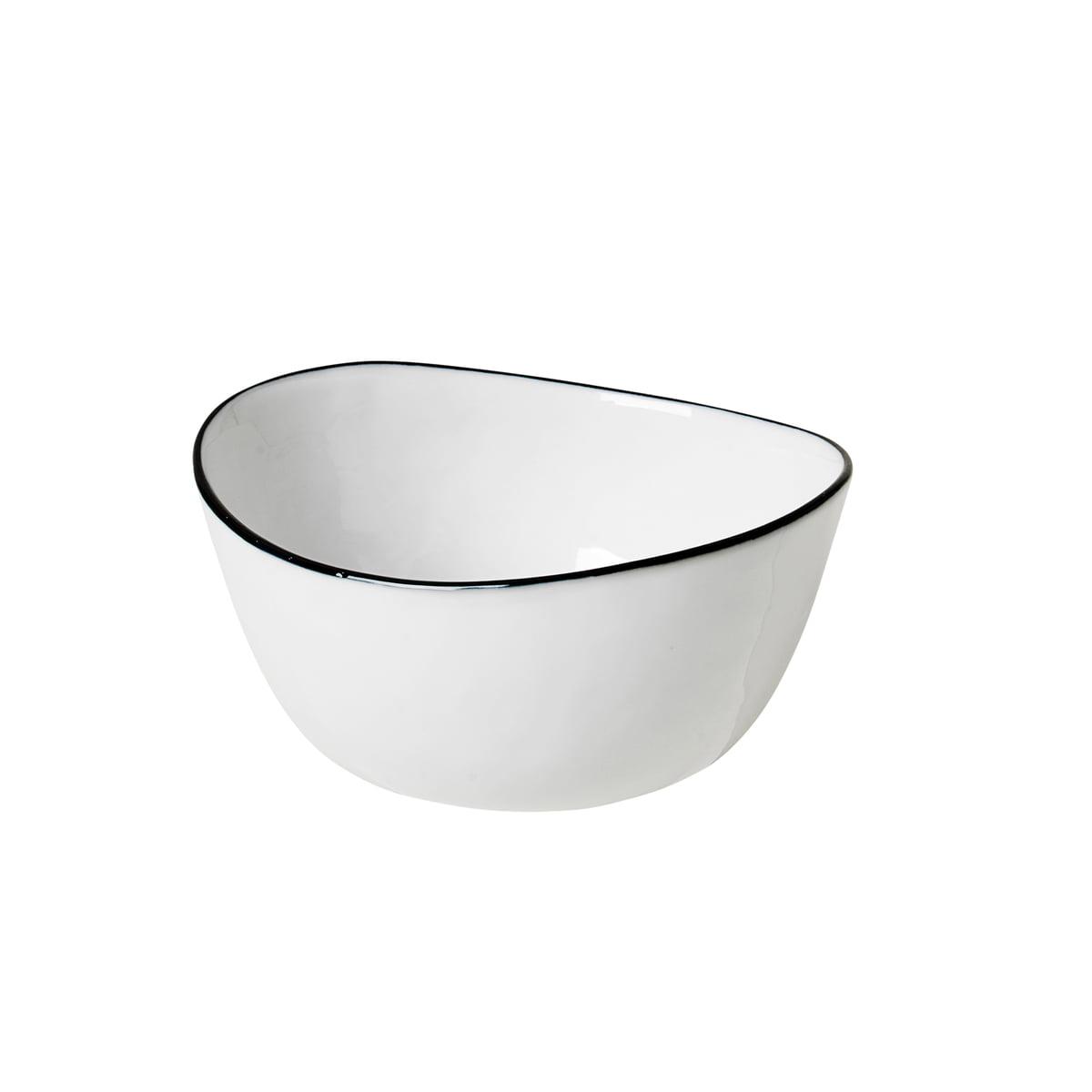 Broste Copenhagen   Salt Schale, 20 x 20 x H 20,20 cm, weiß / schwarz