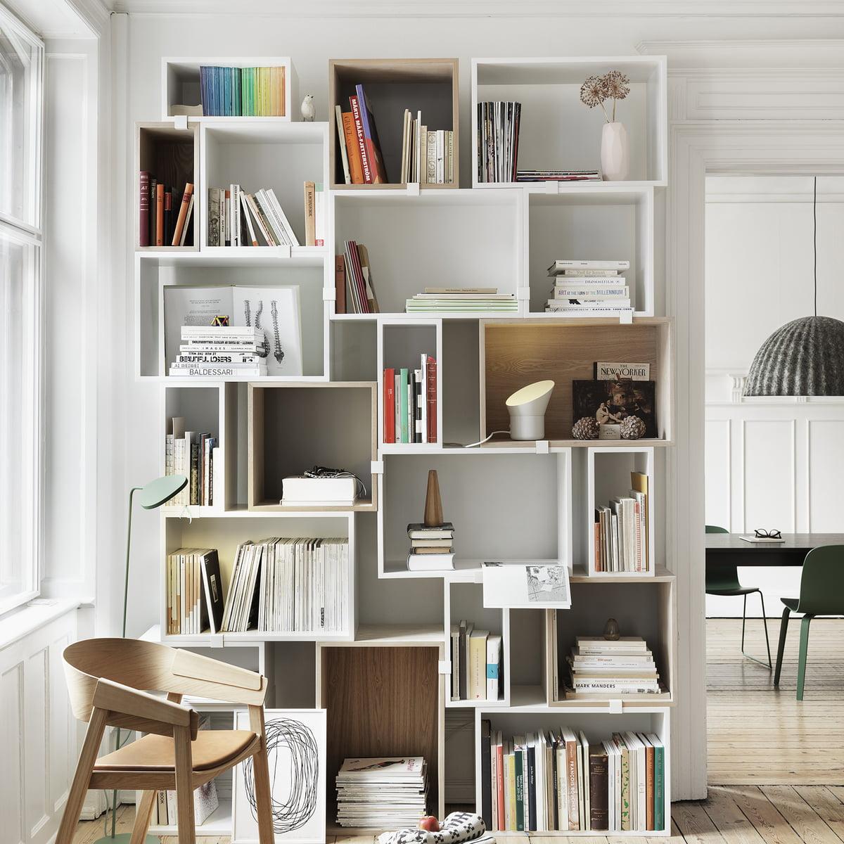 Regalsystem Wohnzimmer | Stacked Weiss Regalsystem Von Muuto Connox