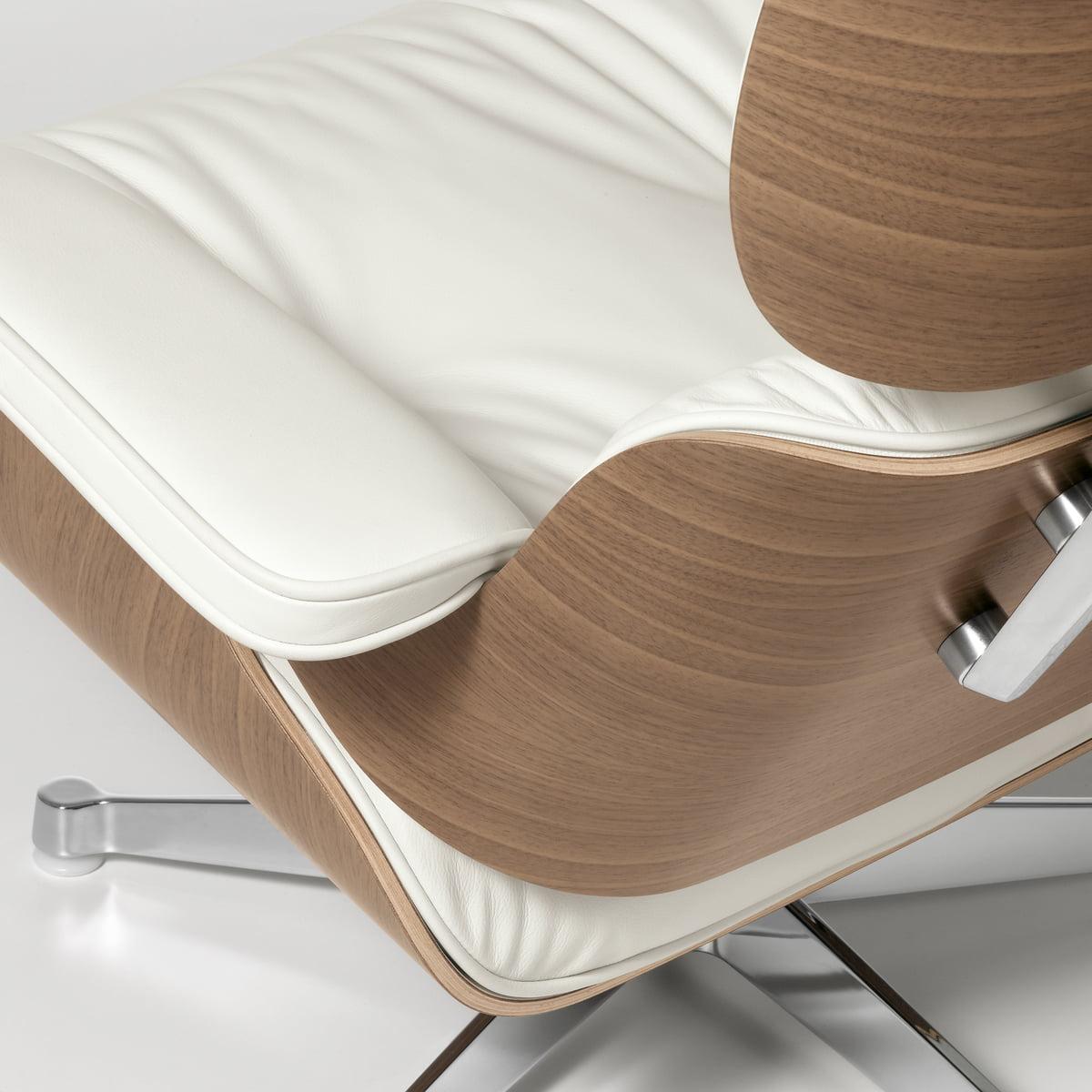 lounge chair von vitra leder premium snow - Eames Lounge Stuhl Abmessungen