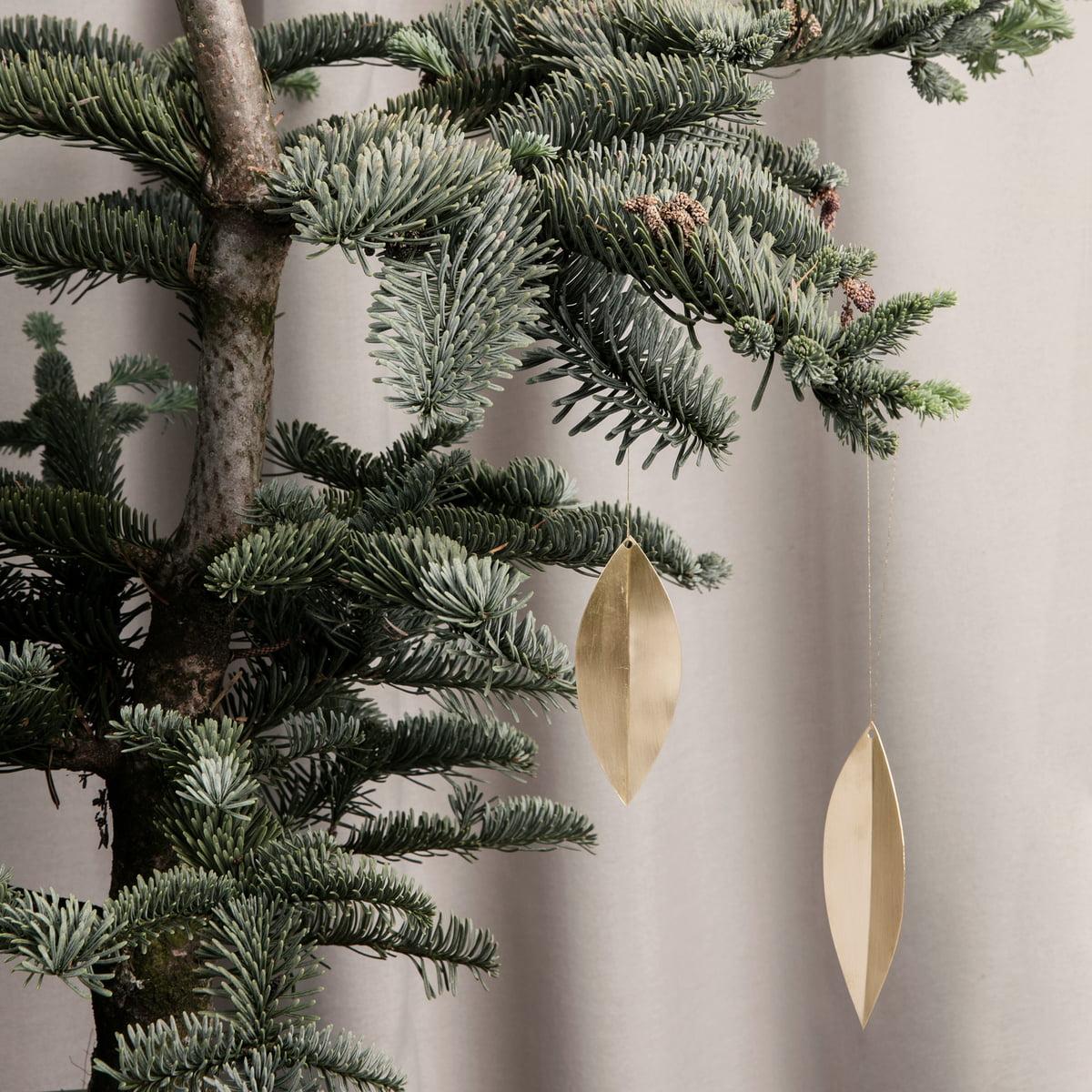 Ferm Living Messing Ornament Blatt 4er Set