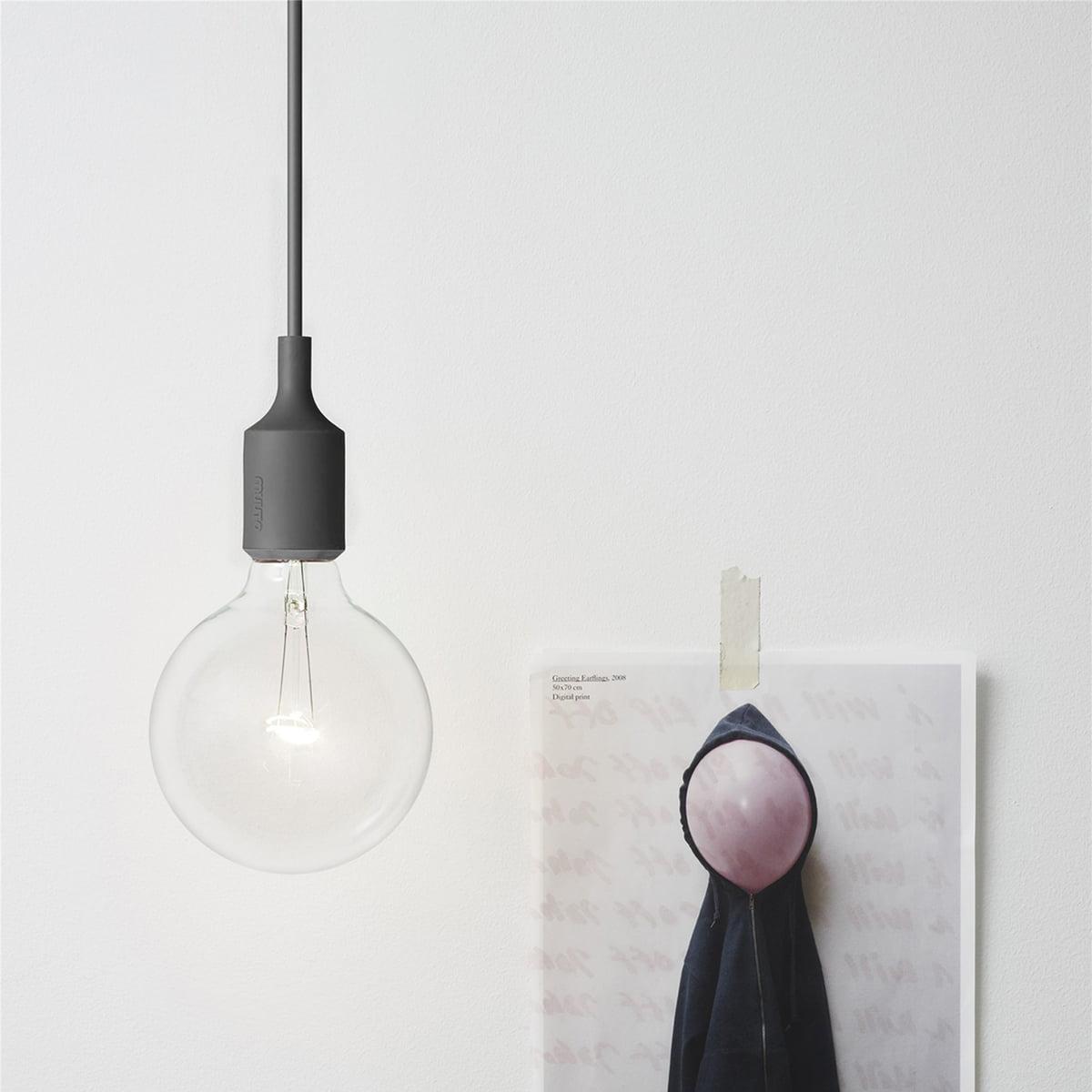 Muuto   Socket E27 LED Pendelleuchte, Dunkelgrau