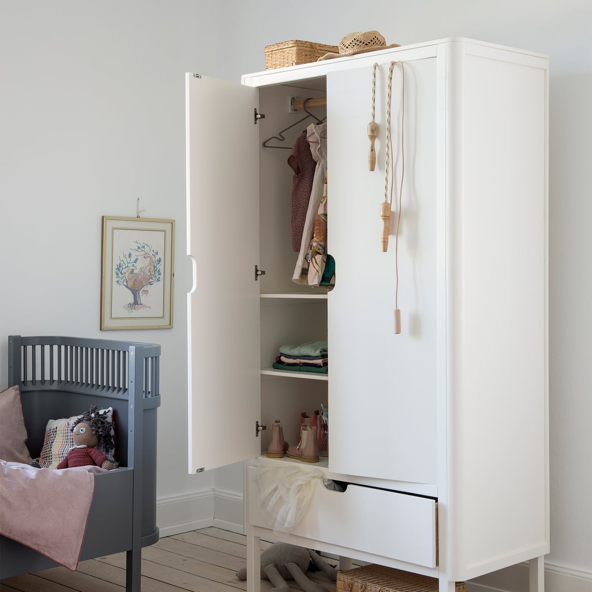Sebra - Kinder Kleiderschrank, 1-türig, weiß