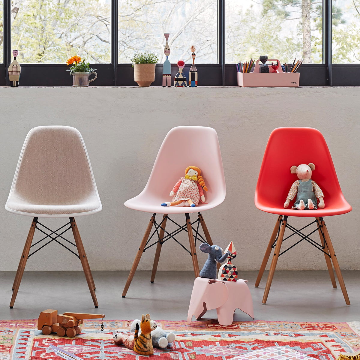 Eames Chair Side Plastic DswAhorn Weiß Weißfilzgleiter Vitra Gelblich nwkOP0
