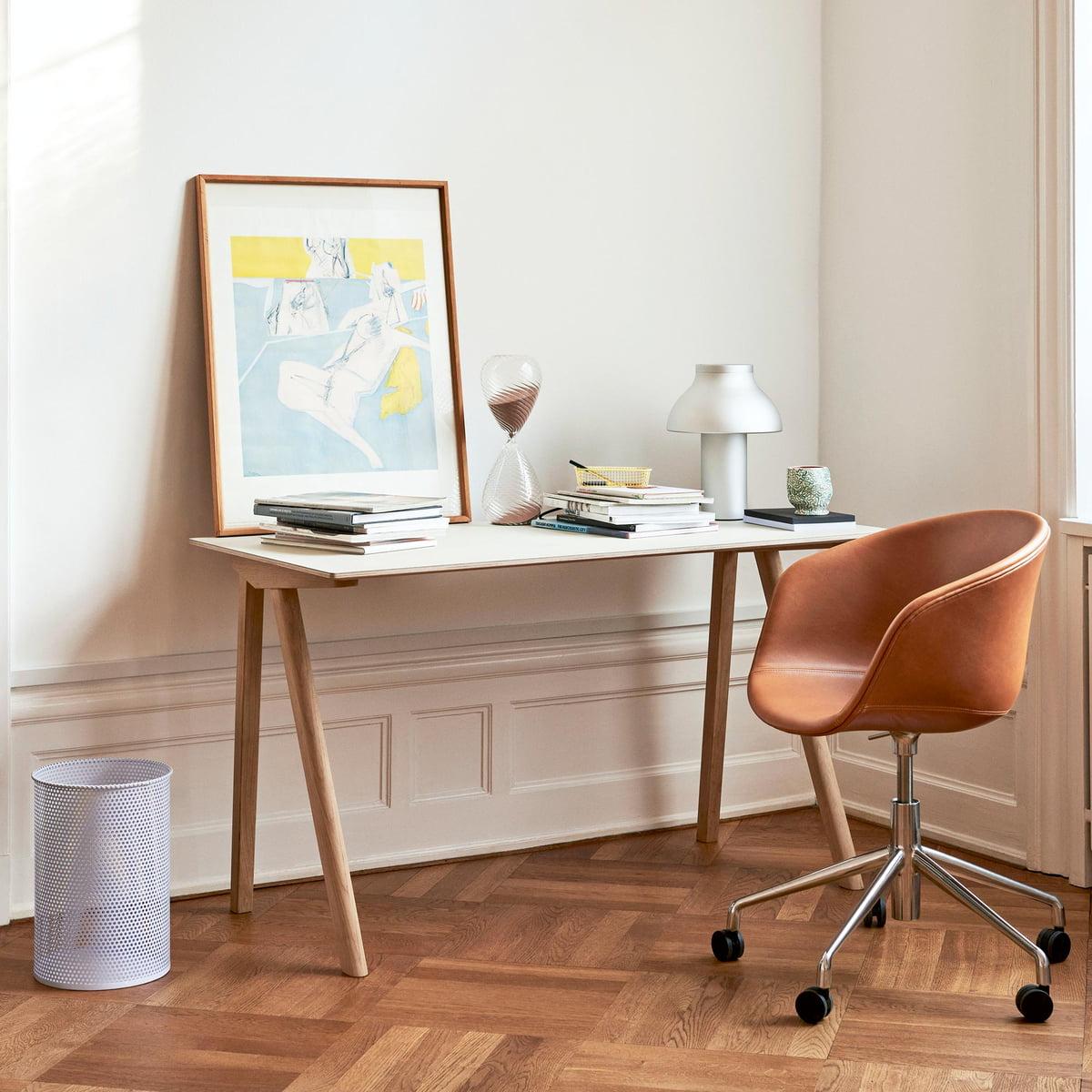 Hay Copenhague Cph90 Schreibtisch 130 X 65 Cm Eiche Linoleum Cremeweiß Mushroom 4176