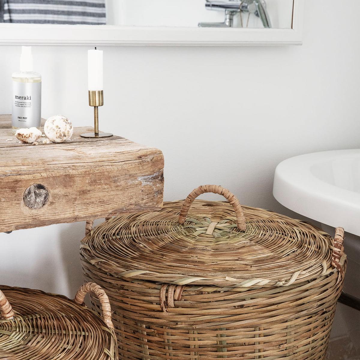 Meraki   Tradition Wäschekorb mit Deckel, H 200 & H 200 cm, braun 20er Set