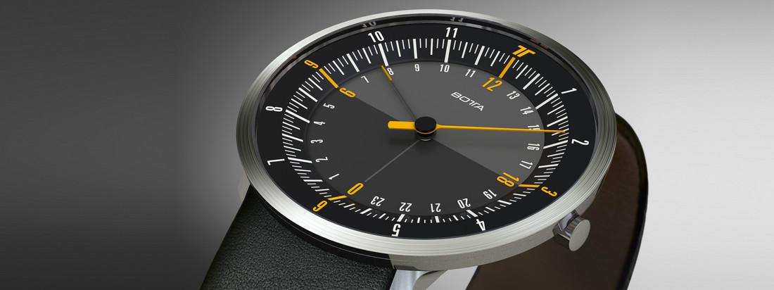 Botta Design stellt hochwertige Uhren mit Lederarmband her - reduziert auf das Wesentliche. Die Uno 24 Armbanduhr zeugt von schlichtem und elegantem Design.