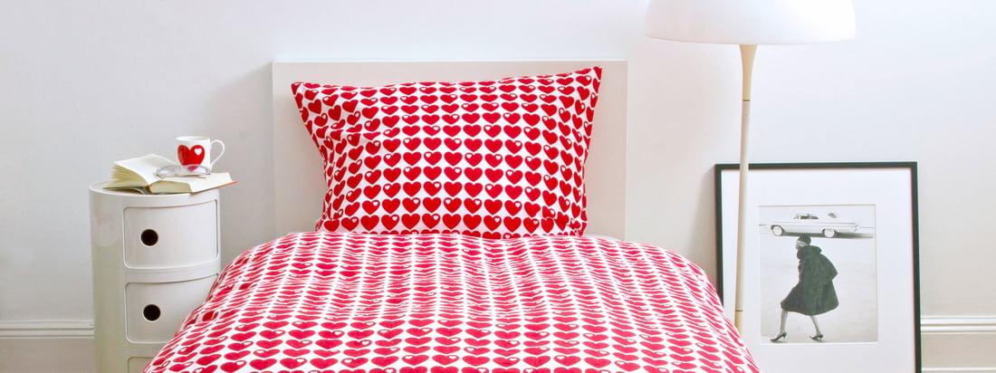 Die Marke byGraziela spezialisiert sich auf Produkte für Kinder. Die Bettwäsche mit Herzen lässt das Zimmer ihres Kindes in einem leuchtenden Rot erstrahlen.