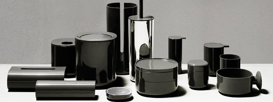Alessi Birillo funktionale Gegenstände für das Badezimmer in dunkelgrau. Die Kombination der Materialien Edelstahl und Kunststoff sorgt für reizvolle Kontraste in Optik und Haptik