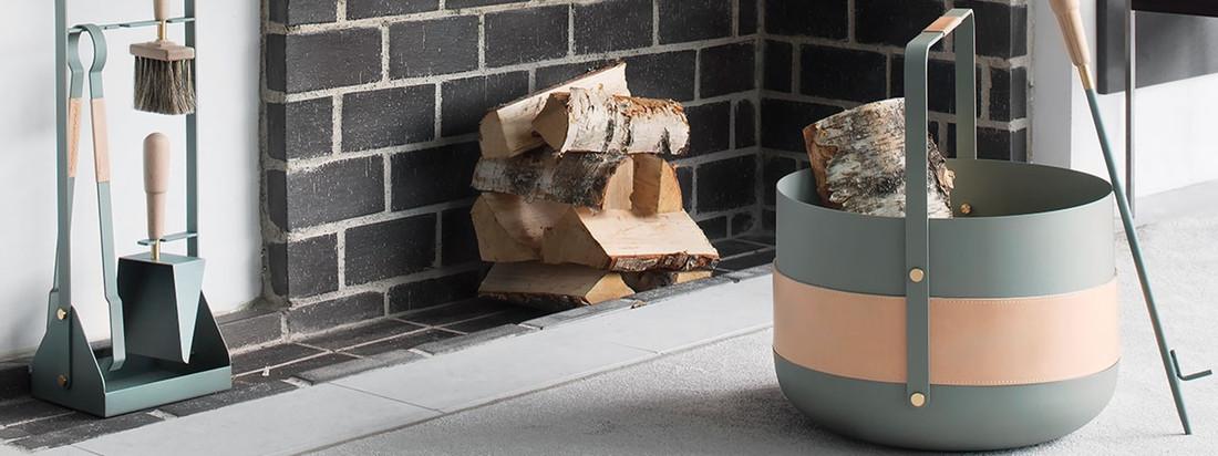 Eldvarm stellt Kaminzubehör im skandinavischen Stil her. Der runde Holzkorb Emma besteht aus Metall und dient als stilvolle Aufbewahrung für Feuerholz.