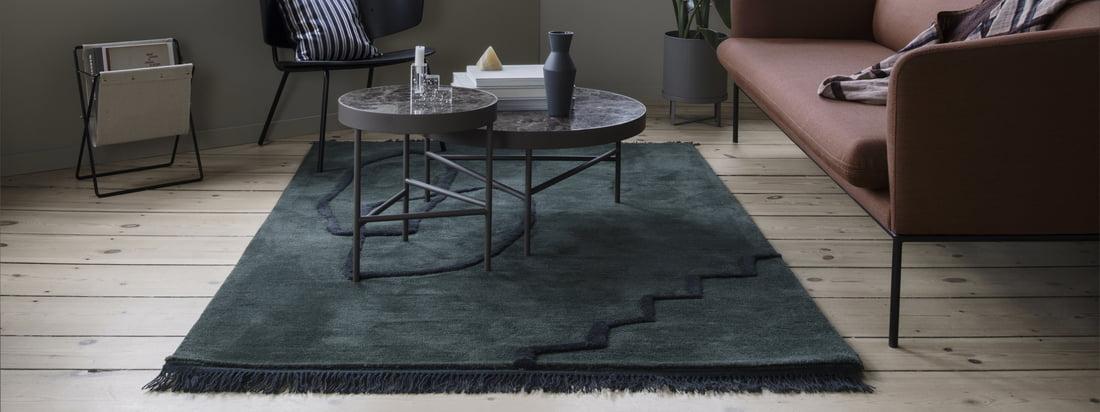 Die Ton-in-Ton-Farben des Desert Tufted Teppichs von ferm Living drücken die Einfachheit des Teppichs aus, während die zeitgenössischen Nuancen ein Statement für sich sind.
