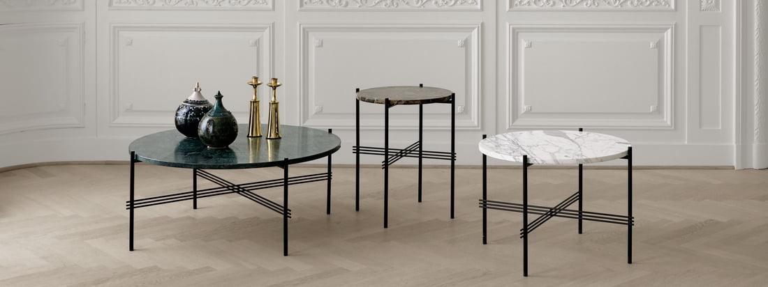 Der TS Couchtisch von Gubi in verschiedenen Höhen mit Tischplatten in verschiedenen Größen erhältlich, die sich wunderbar miteinander kombinieren lassen.