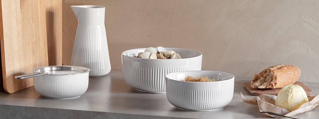 Legio Nova Thermo Schale von Eva Solo in der Ambiente-Ansicht. Die unterschiedlich großen Porzellan-Schalen ergeben in Kombination miteinander einen modernen Look.