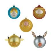 A di Alessi - Jesuskind Maria Josef Ochs und Esel Weihnachtsbaumkugeln (Farbig)