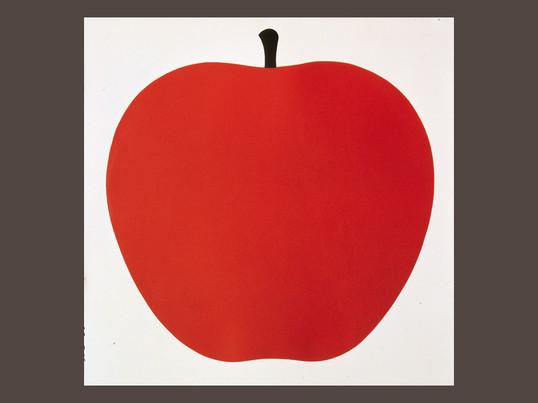 """Die Grafik """"Uno, la mela"""" von Danese ist ein Naturmotiv von dem Künstler Enzo Mari. Er schuf dieses Bild in den 60er und 70er Jahren um sowohl Erwachsene als auch Kinder zu erfreuen."""