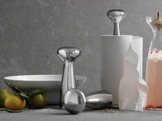 Georg Jensen - Die von Alfredo Häberli entworfene Alfredo Kollektion ist mit dem Küchenrollenhalter oder der Salz- und Pfeffermühle mit der Kombination aus Funktionalität und optischer Eleganz ein Eye-Catcher in Ihrer Küche. Der Knauf ist hierbei ein schönes Markenzeichen.