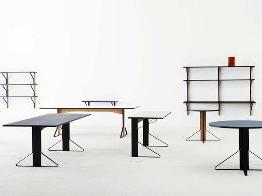 Die Kaari Kollektion umfasst eckige und runde Tische in zwei Größen, einen Schreibtisch, eine Wandkonsole sowie mehrere Regale in unterschiedlichen Größen.