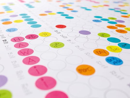 Organisieren Sie Ihre Tage, Wochen und Monate mit kleinen, bunten Klebepunkten! Diese können nach belieben weiter beschriftet und bemalt werden, sodass man nie mehr den Überblick verliert.