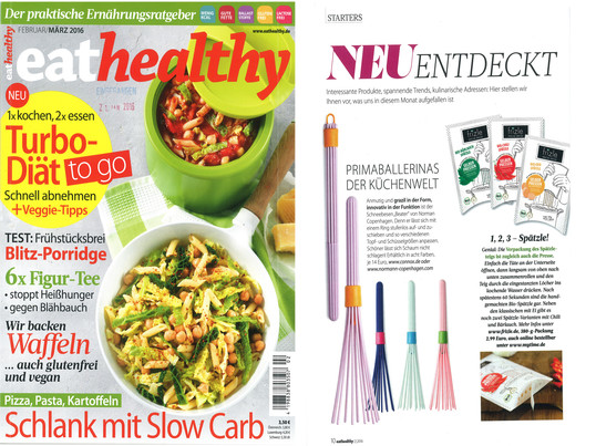 """Der Schneebesen Beater von Normann Copenhagen in der Februar/März 2016 Ausgabe der Zeitschrift """"eat healthy"""". Der Beater lässt sich zusammenklappen und nimmt deshalb in der Küchenschublade nicht viel Platz in Anspruch."""