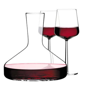 Iittala - Weinkaraffe Decanter, Essence Rotwein-Gläser, gefüllt