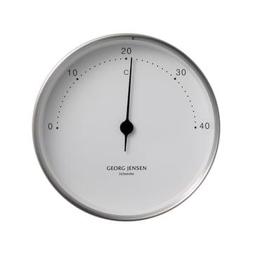 Henning Koppel Thermometer Ø 10 cm von Georg Jensen aus Edelstahl in Weiß