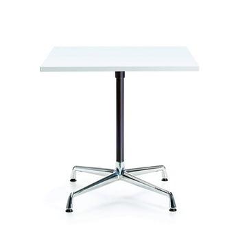 Contract Table quadratisch von Vitra in Melamin weiß / Chrom, basic dark