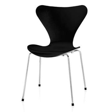 Serie 7 Stuhl, Buche schwarz gestrichen, verchromt, 46,5cm