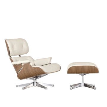 Vitra Lounge Chair + Ottoman - Nussbaum, weiss, poliert