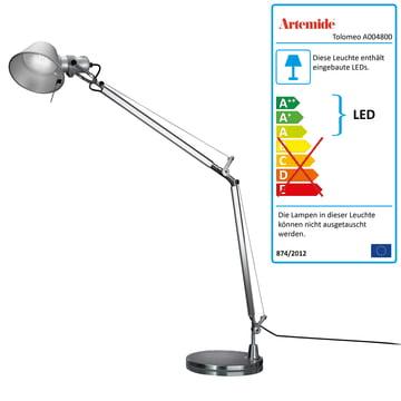 Artemide Tolomeo - Tavolo LED, alusilber