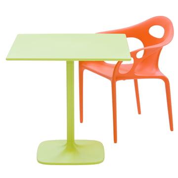 Moroso - Supernatural Armlehnstuhl - orange mit Tisch