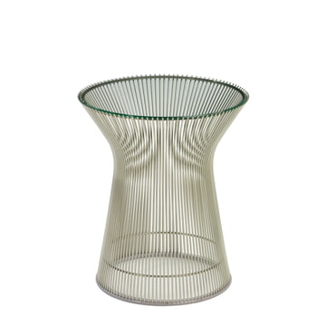 Knoll - Platner Beistelltisch - Nickel poliert / Kristallglas