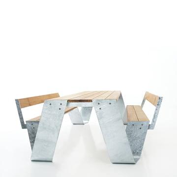 Extremis - Hopper Tisch, Stahl / Iroko, mit Lehne