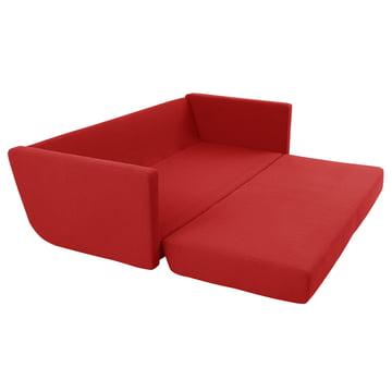 Softline - Lounge 3-er Schlafsofa, rot - Armlehnen, ausgeklappt