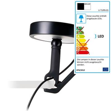 Belux - U-Turn Klammerleuchte, LED, schwarz, schwarz